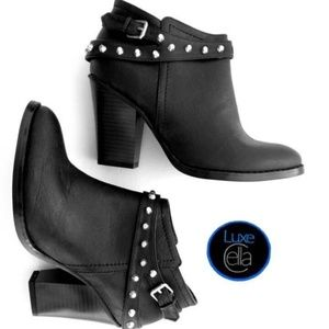 GUESS Studded Side-Zip Stacked Heel Ankle Boots
